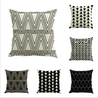 Wholesale Triangle Pillow Wholesale - Print Cushion Cases Square Sofa Black and White Covers Nordic Minimalism Geometric Triangles Stripes Decorative Pillow Case Pillowcase