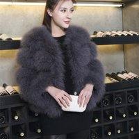Wholesale Ostrich Feather Coat Xl - 2017 autumn winter clothes fur coat real ostrich wool turkey feather coat shearling women jackets elegant fashion luxury