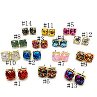 Wholesale Coloured Earrings - 14 colours Small Square Rainbow Glitter Stud Earrings New York fashion Opal Earings gold color cute brand jewelry For women