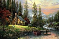 Wholesale Digital Paintings - A Peaceful Retreat Thomas Kinkade Landscape Oil Painting,HD Art Print Original Canvas Wall Deco,Multi size,Free Shipping,framed Pr013