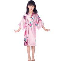 fiesta de bodas de satén túnicas al por mayor-11 colores Niñas satén kimono túnicas boda dama de honor muchachas del partido albornoces de seda pavo real camisón ropa de dormir chicas sólidas robres calidad caliente