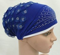 Wholesale Flower Hijabs - Wholesale-12coloursgood quality Islamic lace flower inner cap Modal Hijab Headband Muslim Hijabs Underscarf Islamic Jersey Scarf Caps