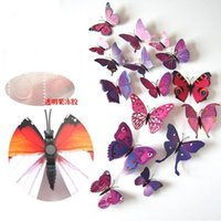 Wholesale Cartoon butterfly Wall Stickers paper Nursery Kids Room Home Decor Paste on the wall or window stickers in stock