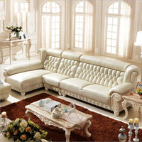 Wholesale Leather Sofas High - new arrival hot selling high quality European antique living room sofa furniture genuine leather set 10107