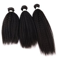 Wholesale real malaysian bundles human hair for sale - Group buy Yaki Hair Bundles Kinky Twist Hair Extensions Natural Material Real Brazilian Virgin Human Hair Pieces Bundles A Unp