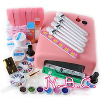 Wholesale White French Tip Glitter - Wholesale- New 36W UV Curining Dryer Lamp + 6 Glitter Powders UV Gel + Clear White Pink Builder Gel Kit French Nail Art Tips Tools Set