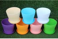 Wholesale small home desks online - Hot Flower Pots Mini Flowerpot Garden Degradable City Colors Square Plastic Plant Pots Planters Decoration Home Office Desk Garden