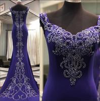 luxuriöse hochzeiten großhandel-Luxuriöse Perlen Mermaid Party Kleider Dubai Arabisch Kristalle Satin Prom Abendkleider Hohe Qualität Strap V-ausschnitt Sexy Hochzeiten Gast Kleid