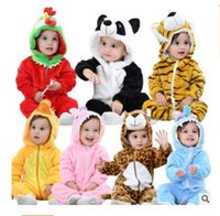 Wholesale Kids Fleece Jumpsuit - Kids Clothing Baby Rompers Costume Winter Tiger Baby Girls Clothes Animal Fleece Clothes For Boys Warm Snowsuit Jumpsuit Free Shipping