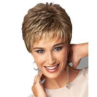 ingrosso scuri biondi scuri biondi-Parrucca sintetica parrucca per capelli con parrucca sintetica marrone scuro