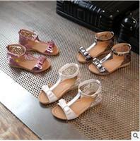 indirimli yaz sandaletleri toptan satış-Sıcak Satış Yaz kızın Plaj Sandalet Yay Oymak Prenses ayakkabı Tatlı Vogue Sandal Zip T-kayışı Yaz Ayakkabı Ucuz Indirim