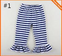 Wholesale Big Girls Leggings - Big Girls Ruffle Soft Cotton Flare Pants Girl Stried Trousers Christmas Pajama Pant Kids Trousers Children Cotton Cloth Trousers Baby Pants
