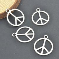 Wholesale Peace Charm Pendant - Wholesale- Wholesale 100pcs lots Metal tibetan silver charms peace pendants fit diy Necklaces and bracelets jewelry making 25*21 3232