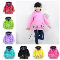 Wholesale Girls Windbreaker 5t - Girls flower Raincoat Kids Fashion Winter Coat Flower Raincoat Jacket For Windproof Outwear Raincoat Windbreaker 9 color KKA2921