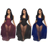 Wholesale Wholesale Night Bodysuit - Women's Overlay Romper Maxi Dress Jumpsuits Tank Bodycon Bodysuit with Sheer Pleated Mesh Lace Skirt   S-XXL   Wholesale Cheap DHL Shipping