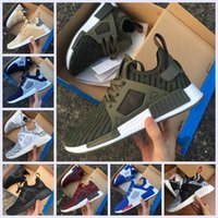 Wholesale Shoes Skulls - 2017 NMD XR1 Running Shoes Mastermind Japan Skull Fall Olive green Camo Glitch Black White Blue zebra Pack men women sports shoes 36-45