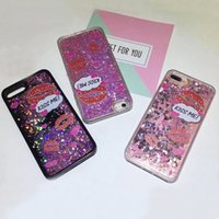 Wholesale Iphone Swan - For iPhone 6 6S 7 Plus Liquid Quicksand Case Tranparent Bling Sparkle Moving Stars Petal Swan Rabbit Kiss ME Lips Black Back Cover DHL