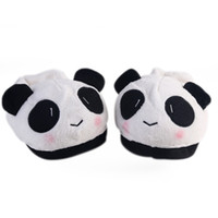 Vente en gros- Cute Lovely Cartoon Indoor Panda Face Slippers Accueil Antidérapant Amant Hommes Hommes Hiver Ménage Thermal Homing Chaussures Pantoufles