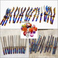 Wholesale Laser Cap Wholesale - rainbow nail katana scimitar sword dabber fit for universal titanium carb cap,free gifts laser logo free