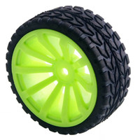 Wholesale Tyre Rc Cars - 4pcs RC Flat Racing Tires Tyre Wheel Rim Fit HSP HPI 1:10 On-Road Car 603-6017