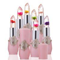 flower jelly lipstick venda por atacado-New Long Lasting Hidratante Transparents Flor Batom Cosméticos À Prova D 'Água Mudança de Temperatura Cor Geléia Batom Bálsamo