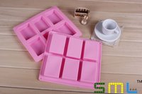 Wholesale Silicone Soap Molds Rectangular - wholesale 6 lattice rectangular pastry molds 100ml silicone cake bakeware mold soap moulds #GP75