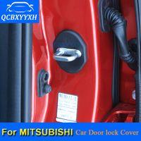 dışkı örtüsü toptan satış-QCBXYYXH 4 Adet / grup ABS Araba Kapı Kilidi Koruyucu Kapakları Için Mitsubishi Outlander ASX Fortis Pajero Lancer Gelant Araba Styling