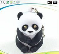 Wholesale Panda Key Chain - Lovely Panda Key Chain Ring with LED Light and Animal Sound Lovely Keychains Child Kid Toy gift