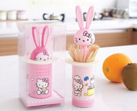 Wholesale Disposable Changing - Wholesale- Kawaii Hello Kitty CHANGE Rabbit - Barrel Shape Toothpick Holder Case BOX Rack Automatic Toothpick Storage Box Case ; Tooth Pick