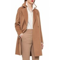 Wholesale Camel Coat Lapel - Camel in stock UK 2017 Fall Winter Women Notched lapel Single Button Simple Long Coat ZA style Career Overcoat manteau femme casaco feminino
