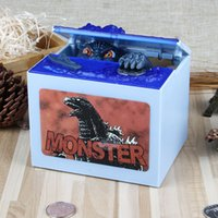 Wholesale Money Gift Boxes - Stealing Godzilla Coin Bank Money Saving Box Piggy Bank Funny Cute Hungry Robotic Dinosaur Piggy Bank Creative Gift For Kids