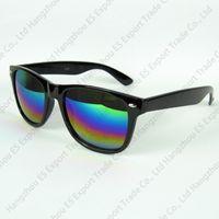 sunglasse azul al por mayor-Transparente Stock Travel Sunglasse Fashion Sun Glasses Marco de plástico Marco plegable No Brand Black and Blue Floral Printing Mix Colors