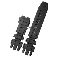 JAWODER Watchband New Men's 26mm (24mm Buckle End) Black Silicone Rubber Diver Watch Band Strap para INV Reserve 6182