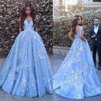 mhamad mavi balo elbisesi toptan satış-2019 Çarpıcı Açık Mavi Kabarık Arapça Balo Abiye giyim Vesitidos Omuz Kapalı Aplike Dedi Mhamad Gelinlik Modelleri
