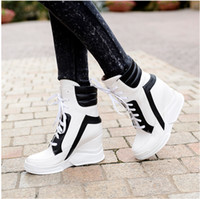 Wholesale Black Wedge Sneaker - 2017 Lace Up Wedges Platform Casual Shoes Woman Patchwork Womens Winter Spring Black White Red Ankle Women Boots sneakers