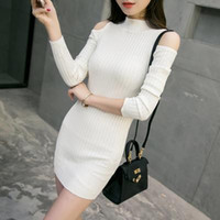 Wholesale Stretchy Long Knit Dresses - 2016 Autumn And Winter Lady Stretchy Cold Shoulder Knitted Bodycon Sweater Retro Casual Dresses Womens Sexy Cutout Dress