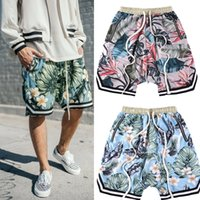 Wholesale Men Short Beach Pants - Justin Bieber FOG fear of god Collection 3D Plants Floral shorts Running Breathable short stretch sweat jogger shorts casual beach pants