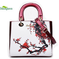 Wholesale Nations Style Bags - Wholesale-Newest Style Women Leather Handbags Printing Chinese Nation Shoulder Bags For Lady Brand Casual Tote Handbag Designer DL9080