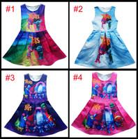 Wholesale Poppy Dress - 4 Style Girl Trolls Poppy Branch Princess Dress Children high quality cartoon bowknot sleeveless vest dresses clothes B001