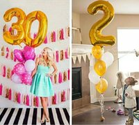 Wholesale Helium Balloons Big - Large 40 inch Gold Silver Digit Foil Balloons Big Number Helium inflatable Ballon wedding Birthday balloon Party Supplies
