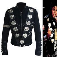 jaqueta de lã preta venda por atacado-Venda por atacado- Rare Michael Jackson MJ BAD Black Classic Jacket Com Silver Eagle Badges Punk Metal Moda Crachá de lã roupas Show Gift