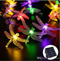 Outdoor Solar Led Light String 5M 20Led libellula Striscia pannello solare luce IP65 impermeabile Garden Holiday luci decorative