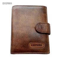 Wholesale travel passport money holder - Wholesale- Vintage Passport wallet Cover Genuine Leather Mens Travel Wallets Cowhide Purse Male Card Holder Coin Purse Pocket Pattern Money