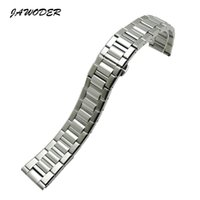 JAWODER Watchband 22mm Lentes alongadas Pure Solid Stainless Steel Polishing + Brushed Watch Band Strap Deployment Buckle Bracelets