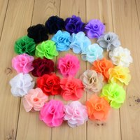 Wholesale Neon Clip Hair Accessories - Neon Chiffon Summer Sytle 2.56 Inch girl hair Flowers Headband 125pcs lot Kids Head Beauty DIY accessories MH88