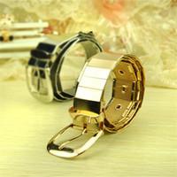 Wholesale Wide Belt Trend - Wholesale- Punk Trend Men&Women's Belts All Metal Plated Metallic Bling Gold Silver Shinny Knitted Waist Belt Wide Watch Belts lxy869