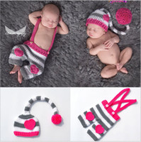 Wholesale Newborn Photography Long Hat - Long tail Love heart Hat Style Newborn Photography Baby Hat Crochet Clothing Set Knitted Infant Boys Photo Fotografia Props Cartoon Costume