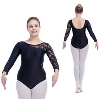 Wholesale Dance Costumes Leotards - Nylon Lycra One Lace Sleeve Dance Leotard Girls Ballet Dancewear Women Bodysuit Costume Full Sizes 11 Colors Available