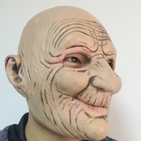 Wholesale Halloween Rubber Face Masks - Halloween Funny Smiling Old Man Latex Mask Realistic Old People Full Face Rubber Masks Masquerade Cosplay Props Adults Size