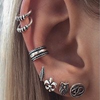 Anchor Leaf Owl Cuff Earring Set Punk Vintage Bohemian Curved Piercing Womens Jewelry Stud Earring Set